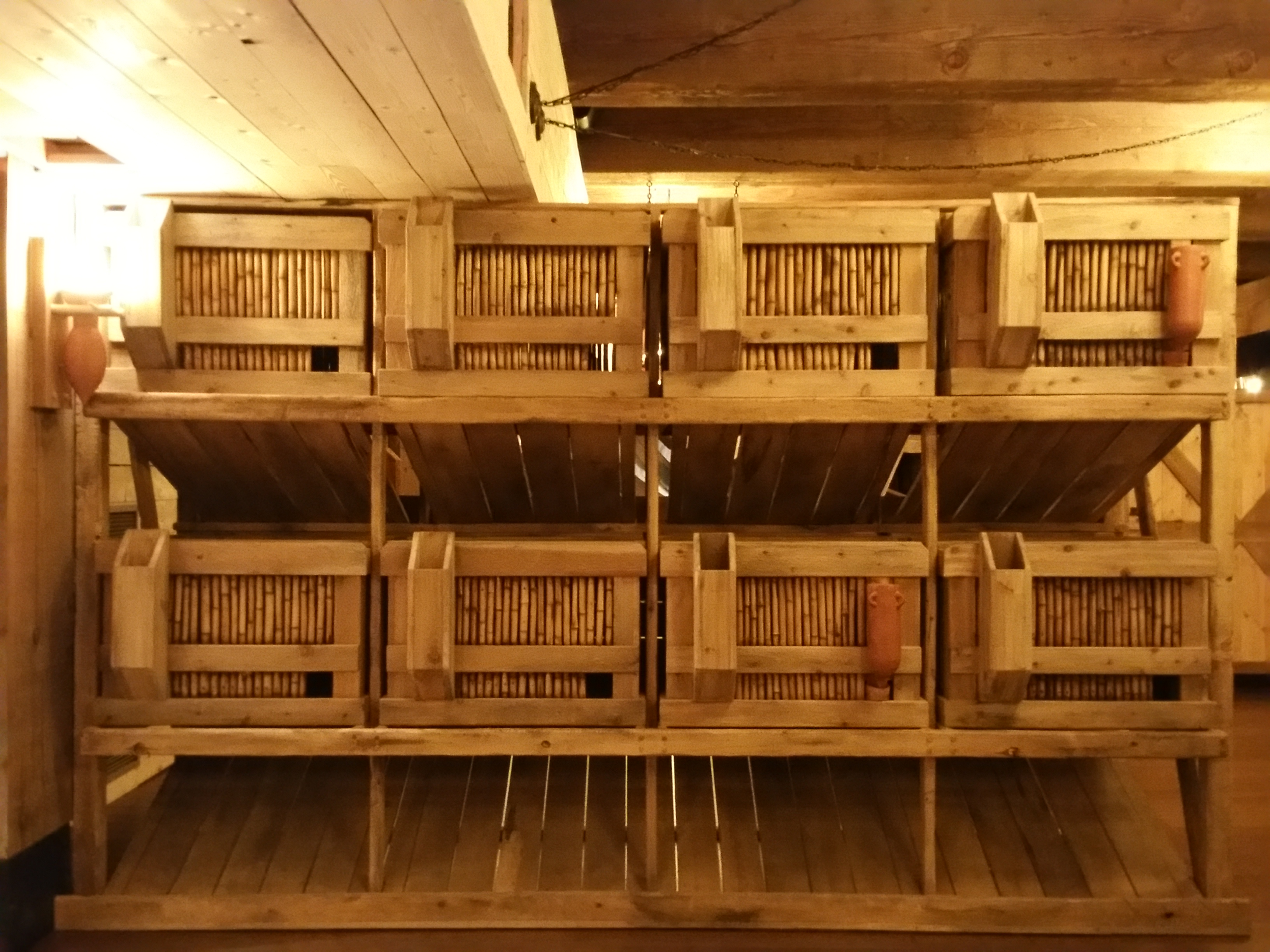 Here's an example of housing for small animals. The back would have had feeding troughs, where each person on the ark could simply go behind and feed all the animals at once!